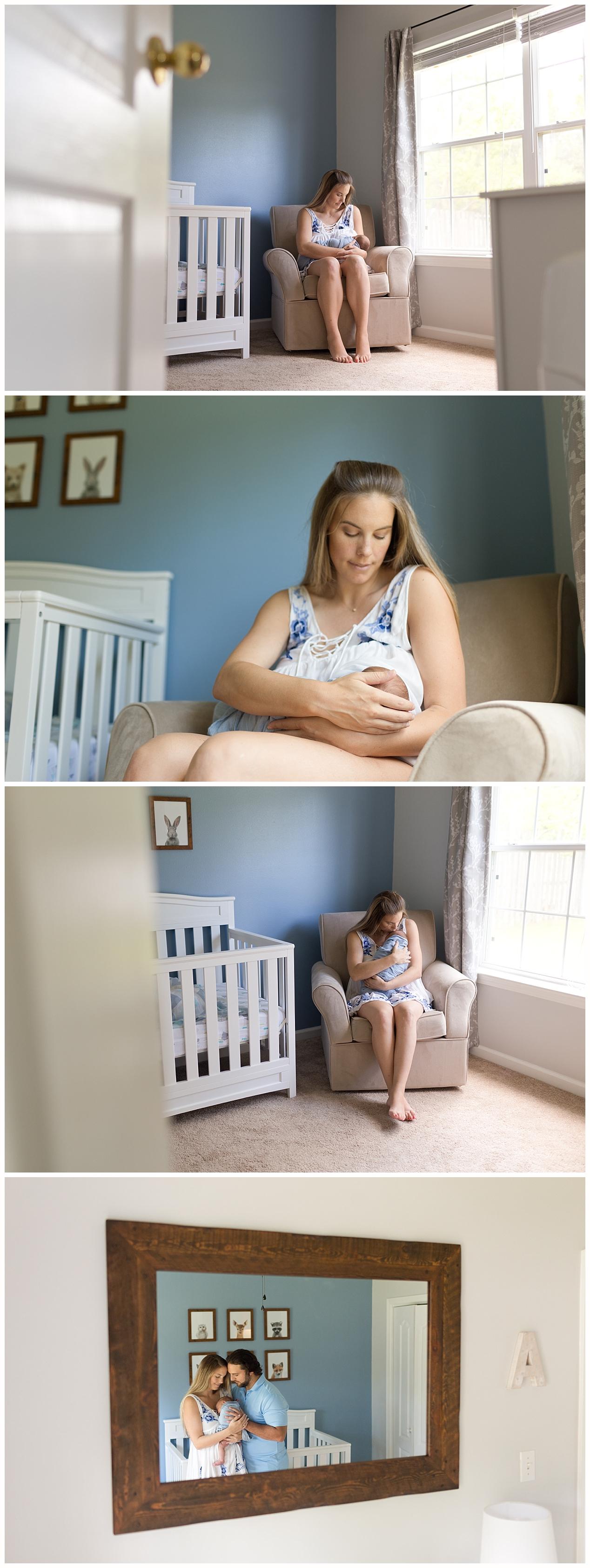 modest breastfeeding photos in nursery - Ocean Springs lifestyle newborn photography