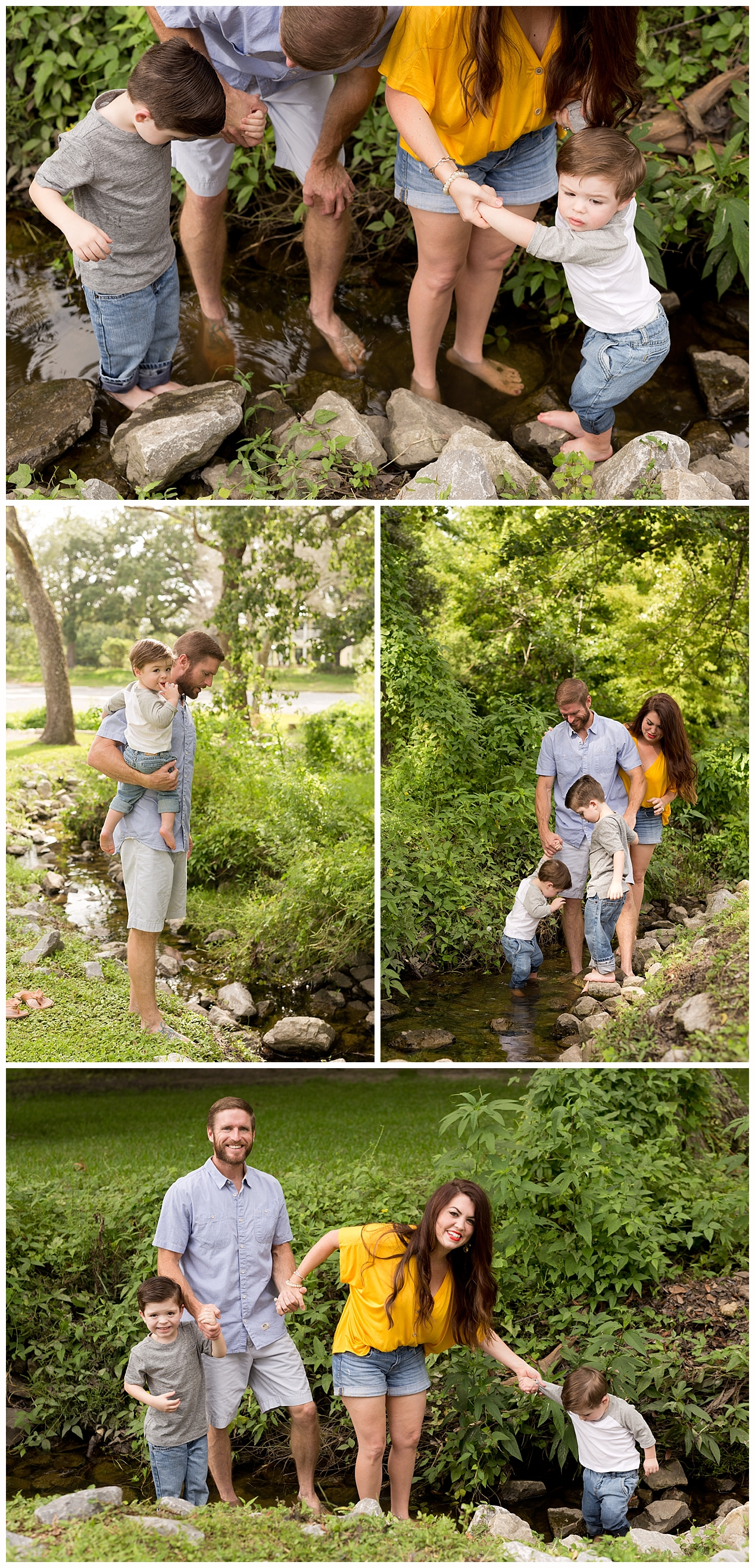 family photos wading in creek in Ocean Springs, MS