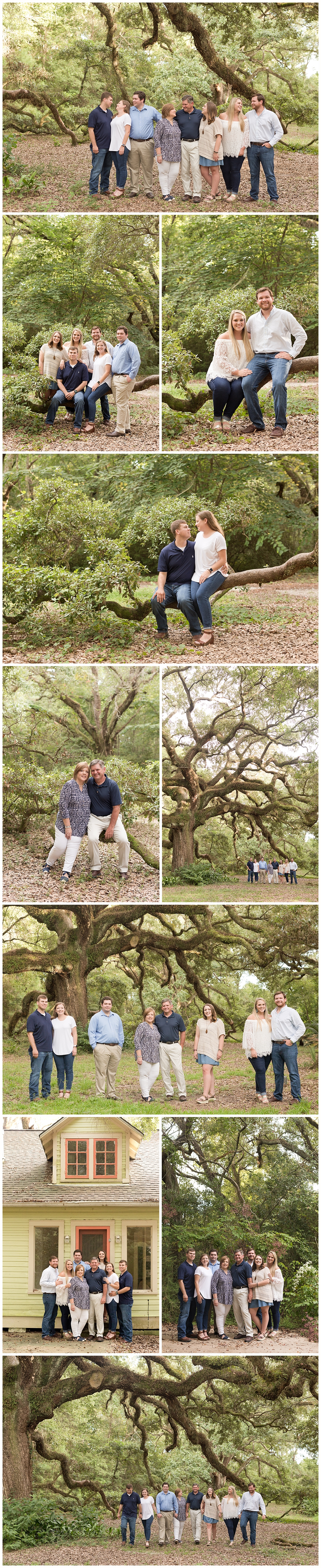 extended family photos in the woods, Ocean Springs, Mississippi family photographer
