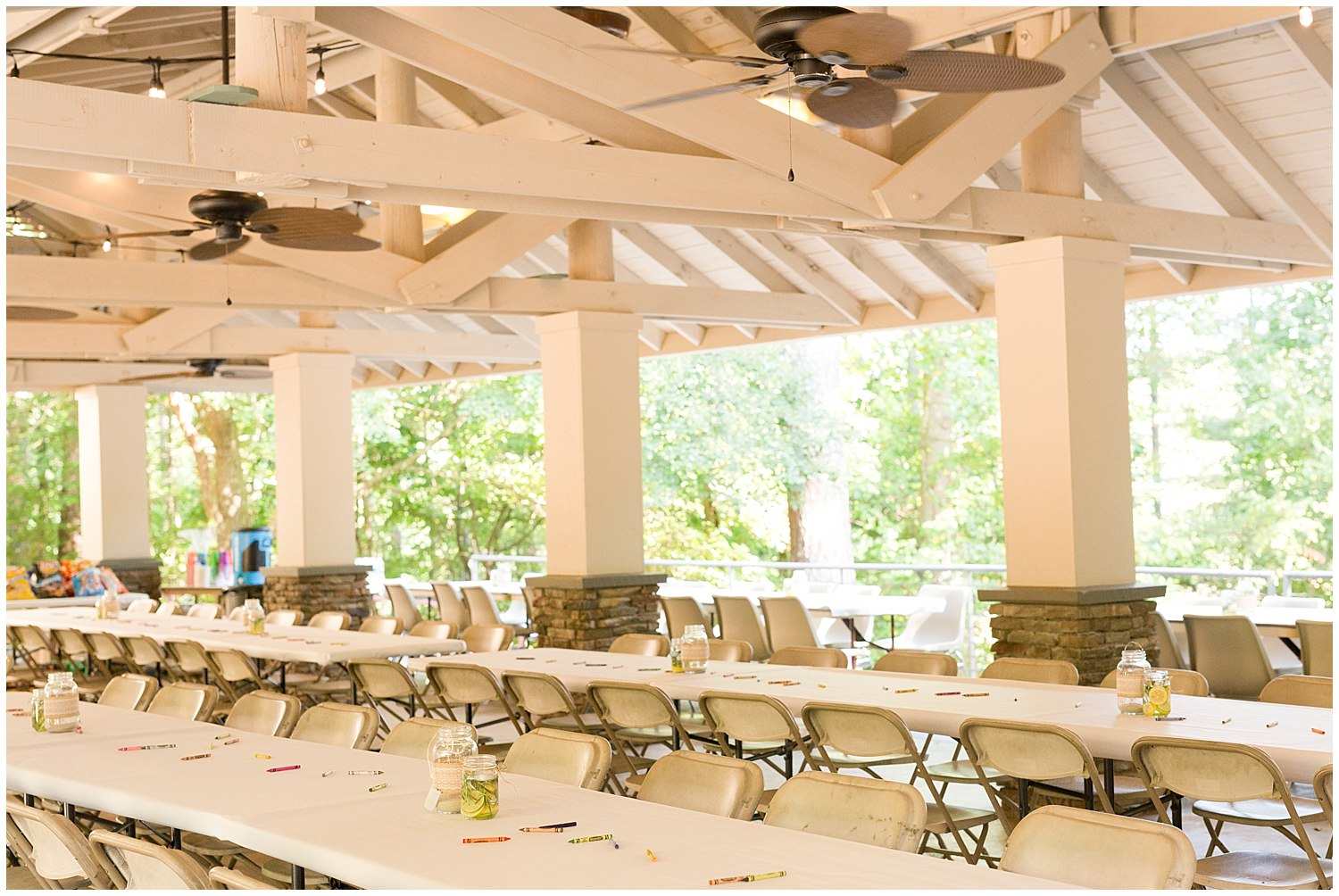 rehearsal dinner at Clemson Outdoor Lab pavilion