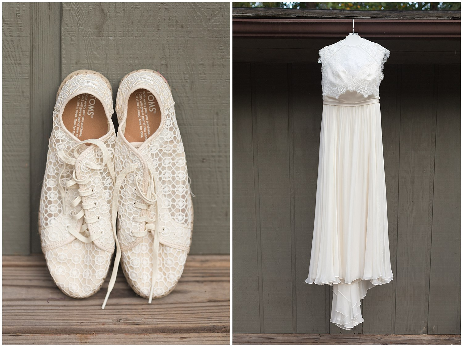 Catherine Deane wedding dress and Toms bridal shoes