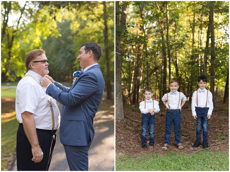 groom tying dad's bow tie, cute ring-bearers in suspenders