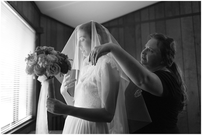 bride in veil before wedding ceremony