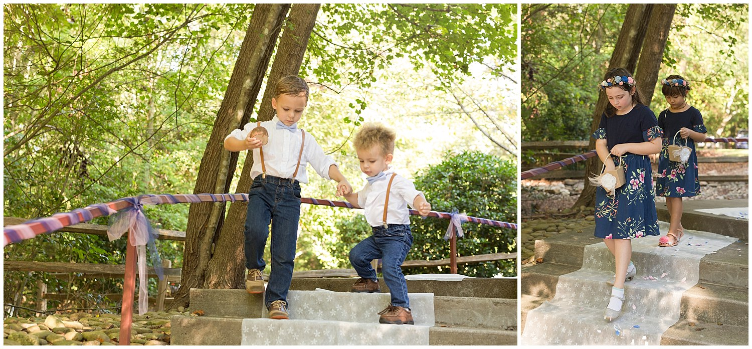 adorable ring bearers and flower girls at camp wedding