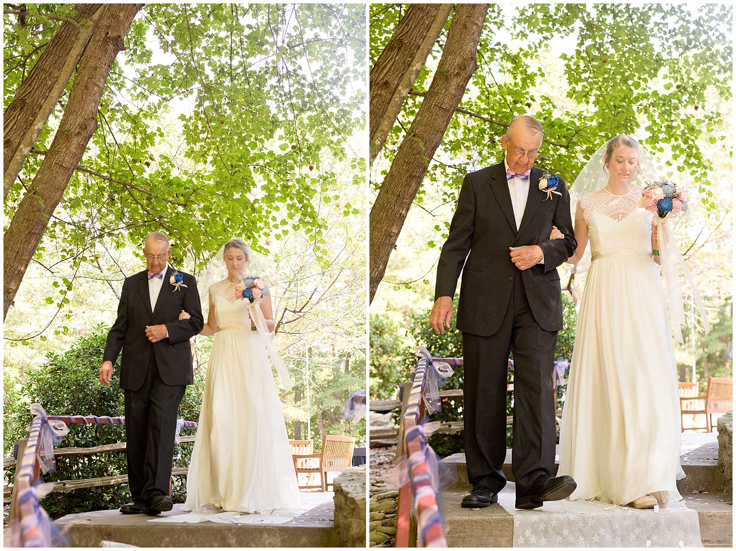 bride and father walking down aisle at camp wedding - destination wedding photographer