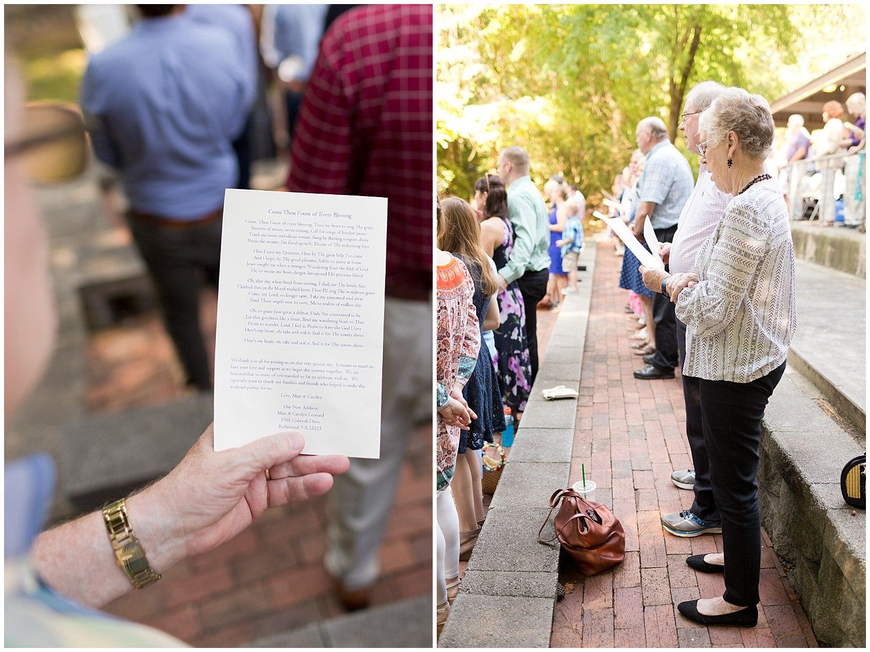 congregational hymn singing at camp wedding
