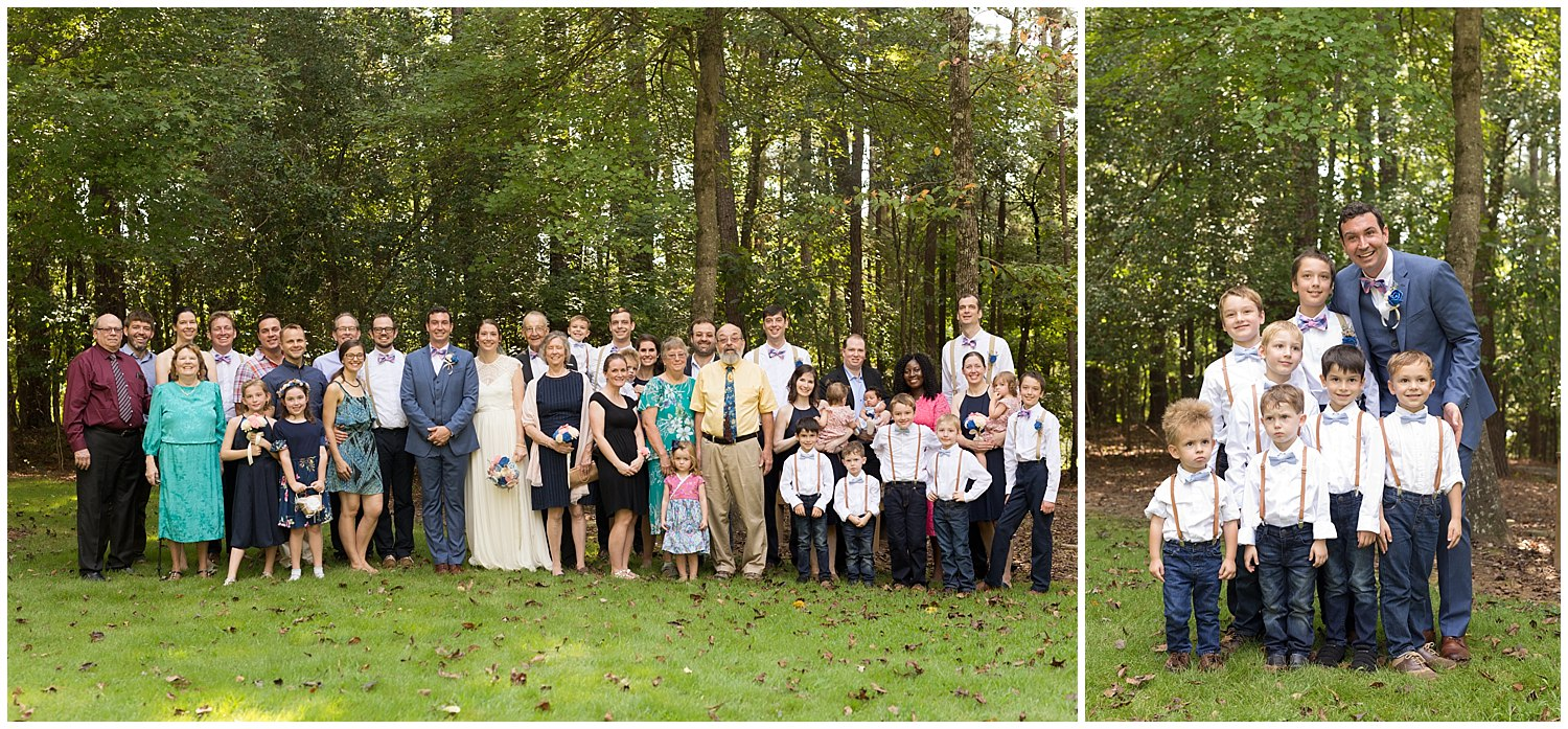 family and ring bearer portraits at camp wedding