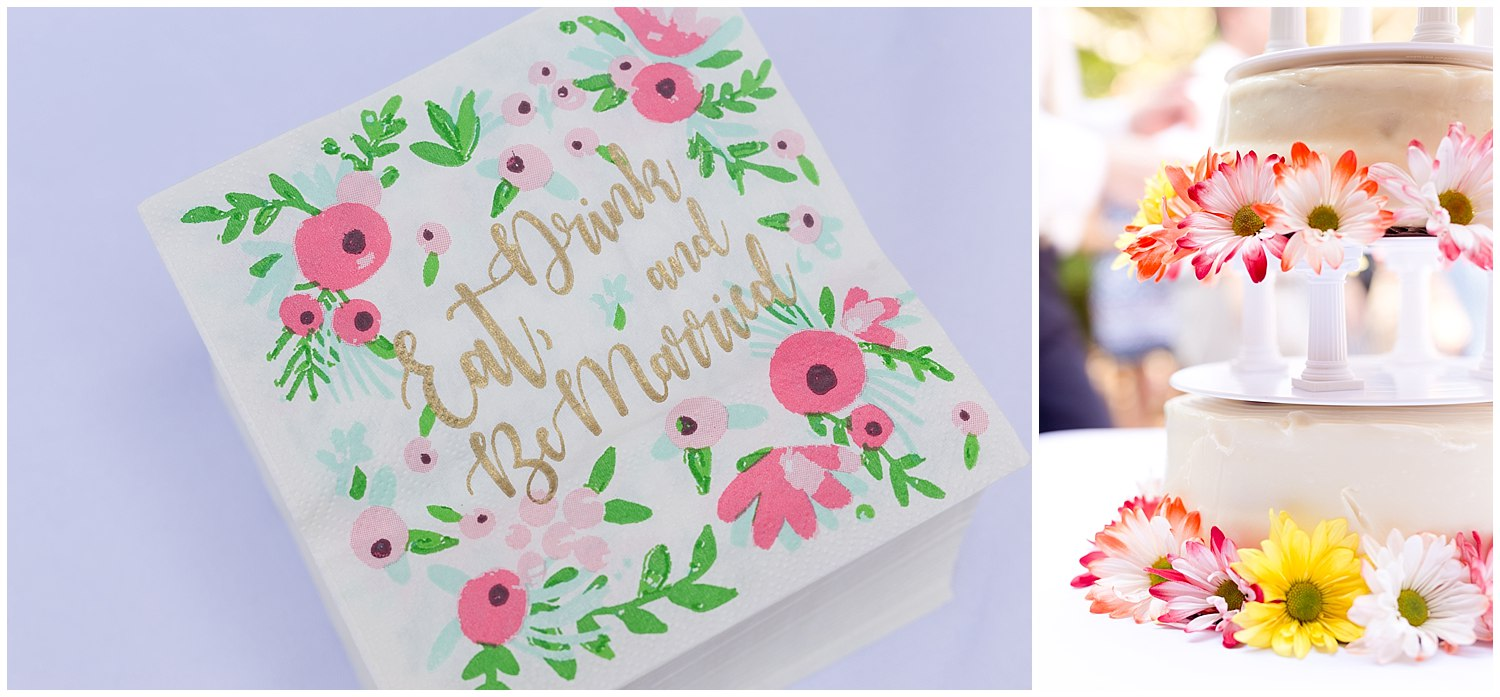 eat drink and be married napkin and cake with flowers