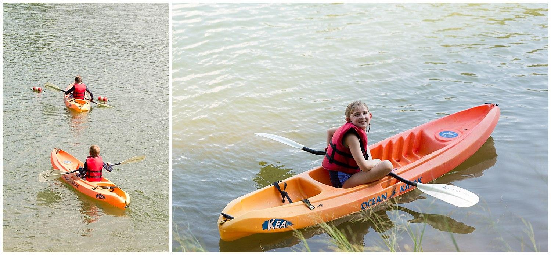 kids kayaking at camp