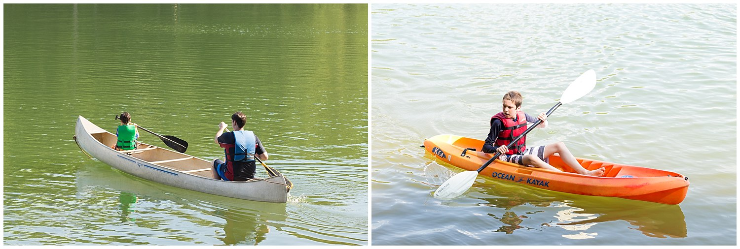 nontraditional outdoorsy wedding with canoeing