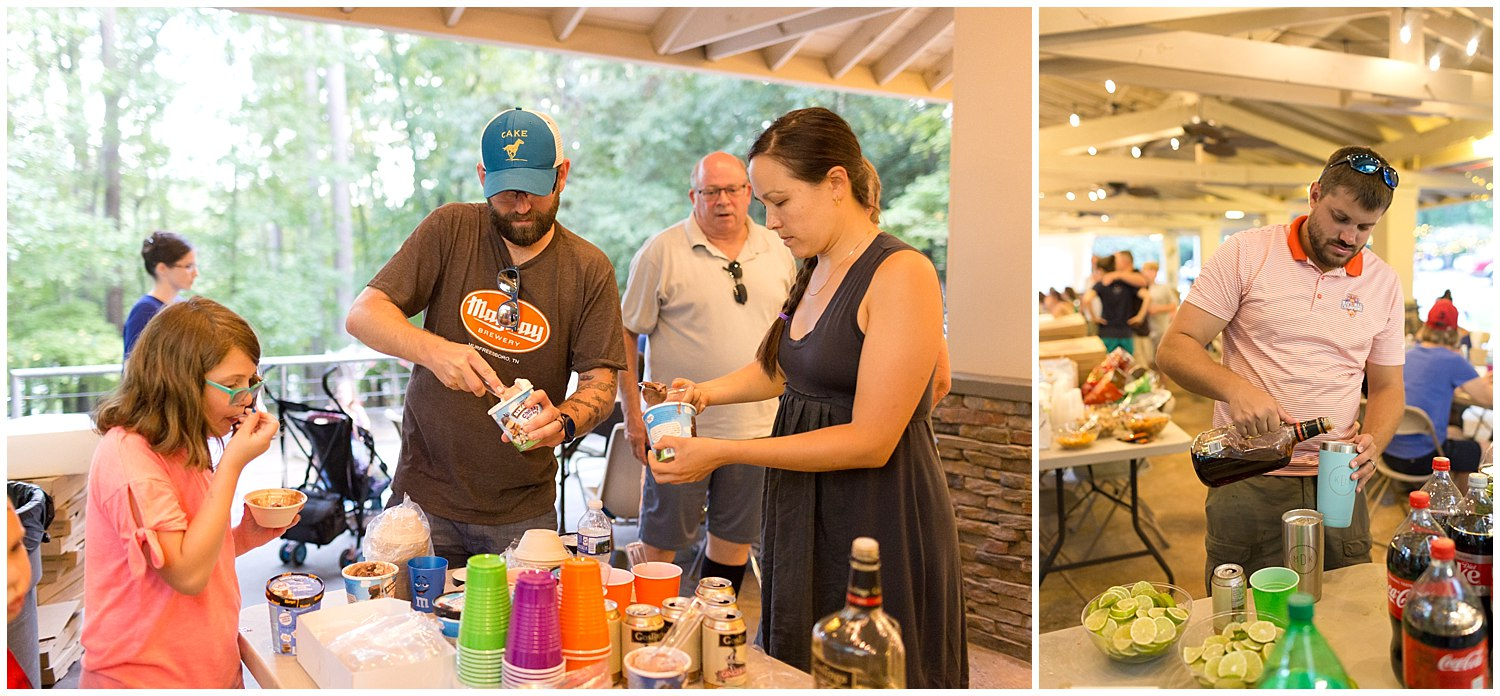 beverages and ice cream at camp wedding
