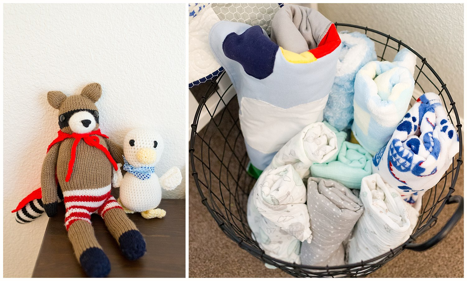 nursery photos with blankets and stuffed animals