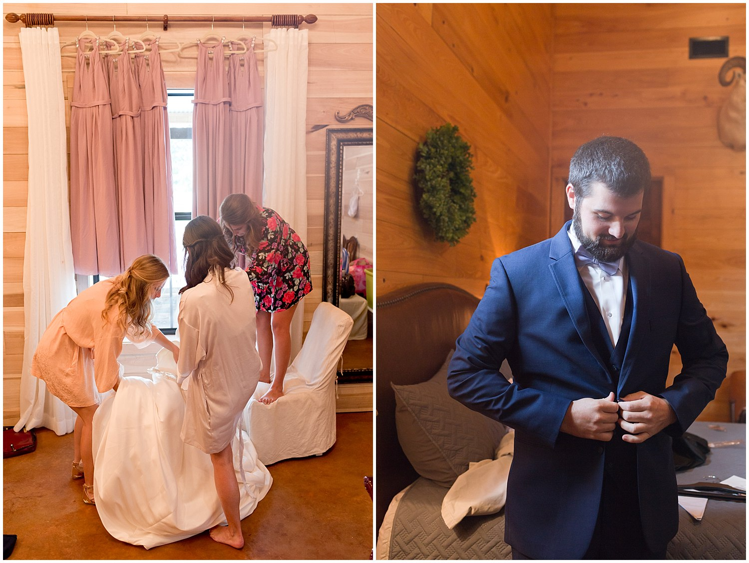bride and groom getting ready at Southern Mississippi barn wedding venue