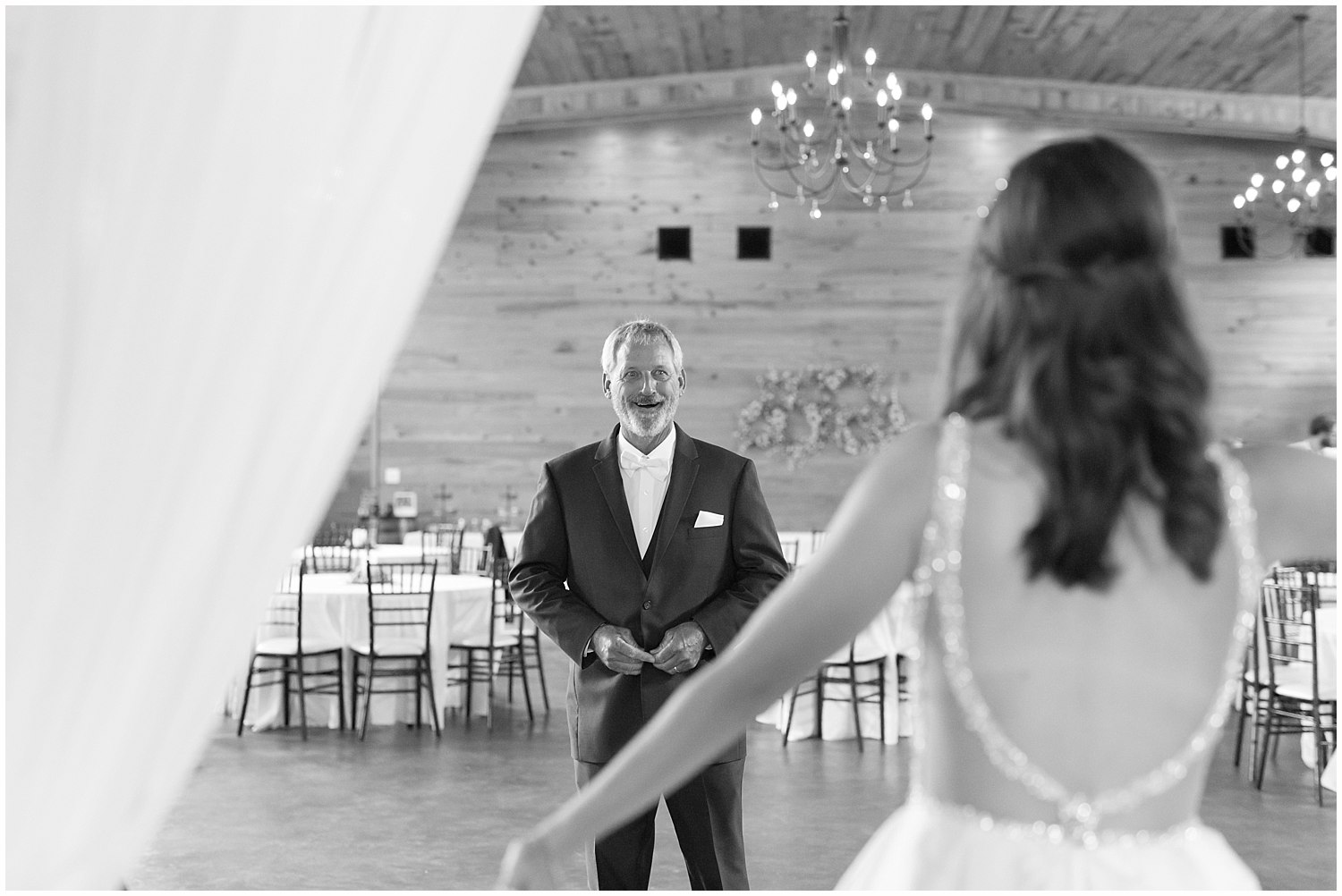 first look with father of the bride at The Barn at Love Farms