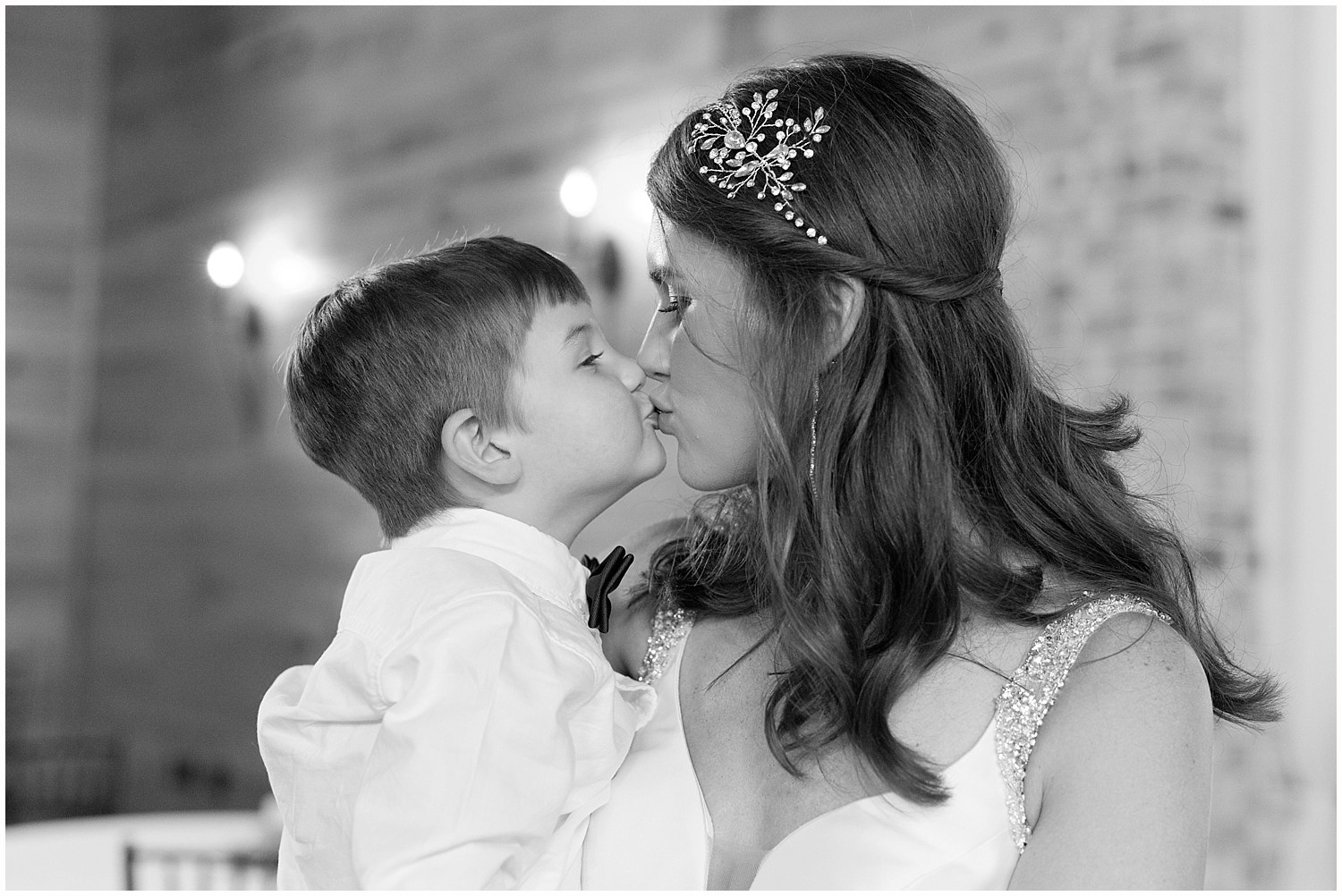 bride and toddler son on wedding day