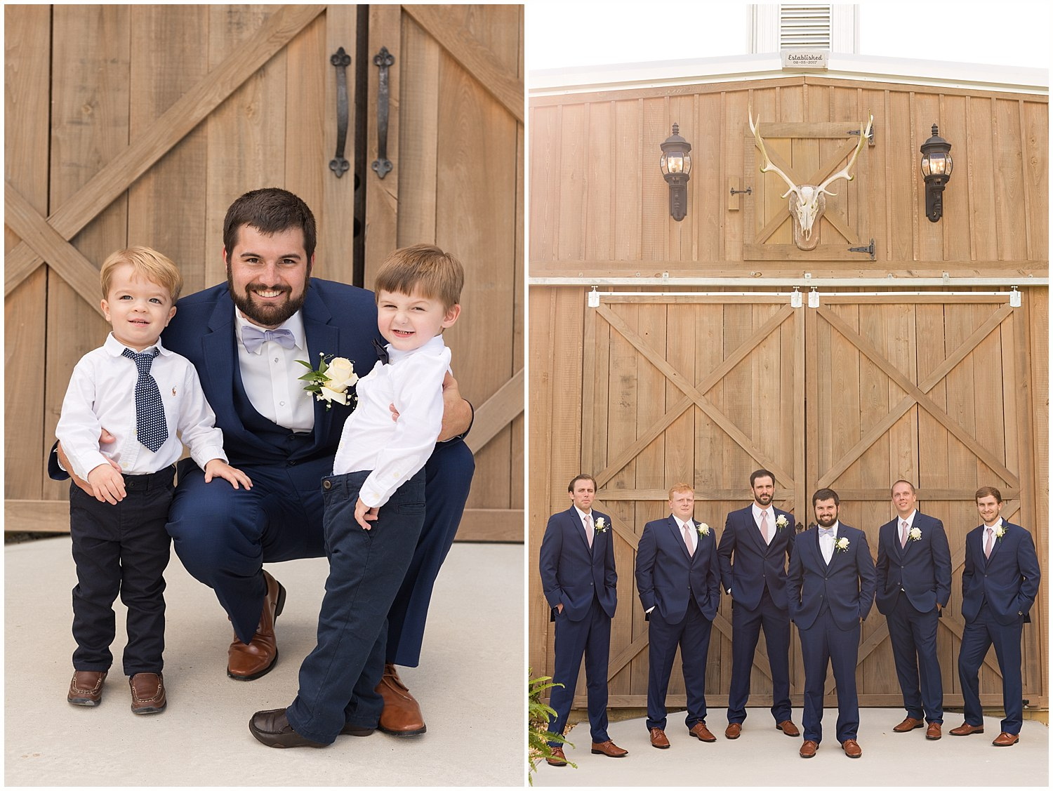 groom, groomsmen, and ring-bearers at barn wedding in South Mississippi