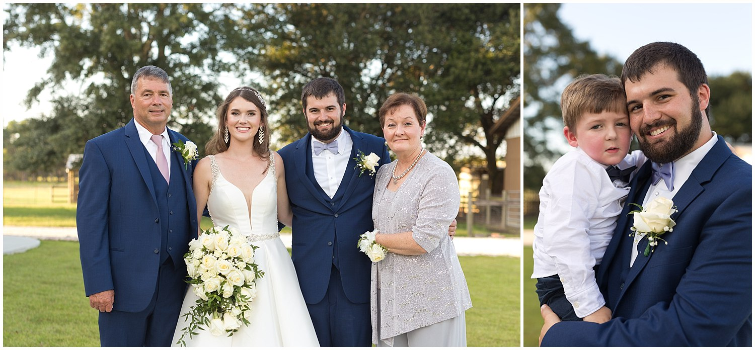 family portraits at wedding in South Mississippi