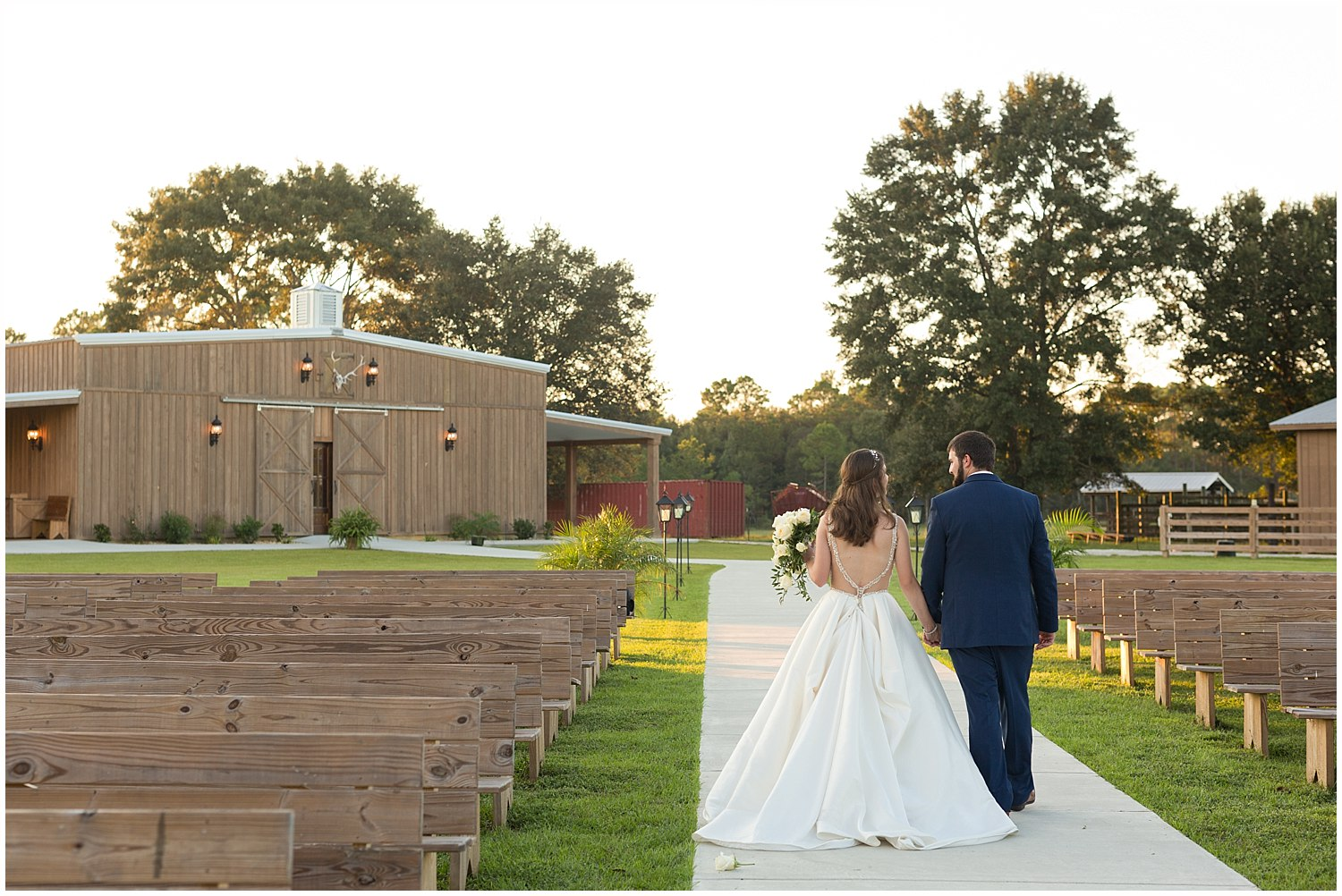 wedding ceremony site at The Barn at Love Farms