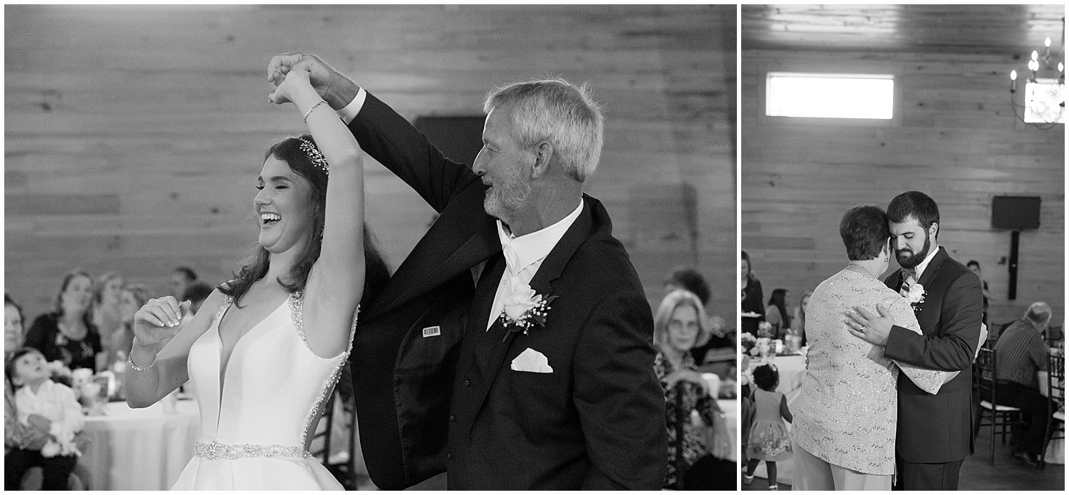 parent dances at wedding reception in Southern Mississippi