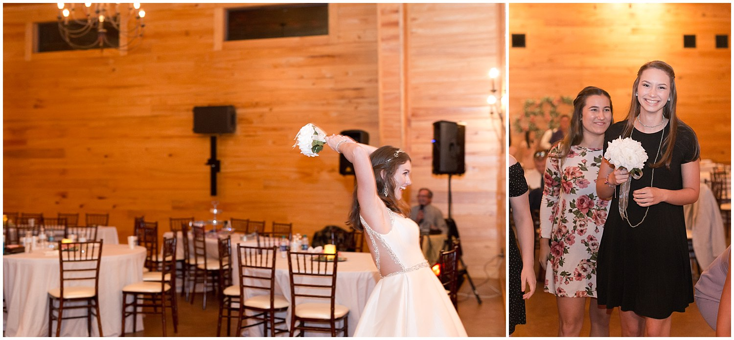 bouquet toss at barn wedding in South Mississippi