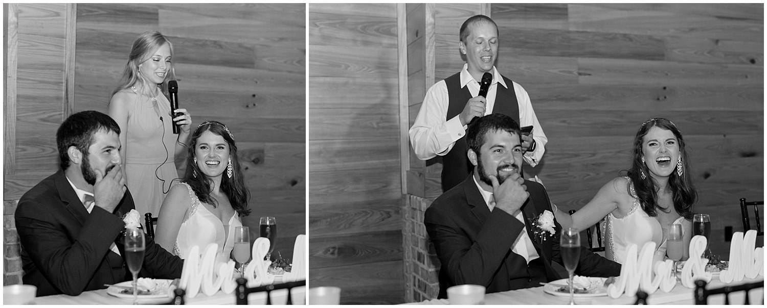 best man and maid of honor toasts at wedding in Southern Mississippi