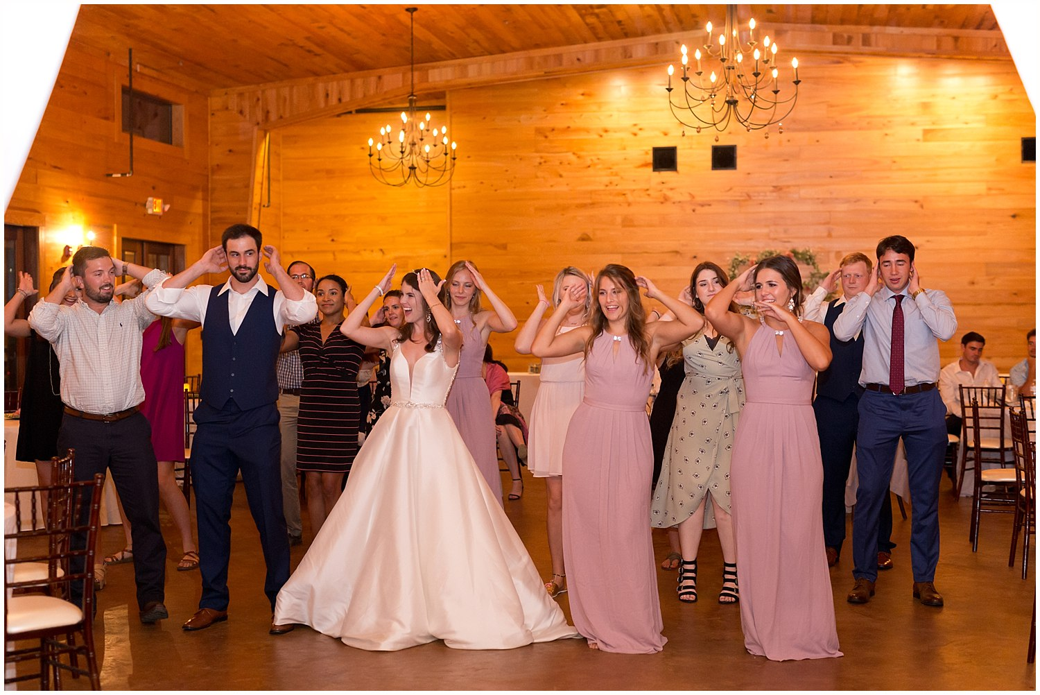 dancing at barn wedding reception in Kiln, MS