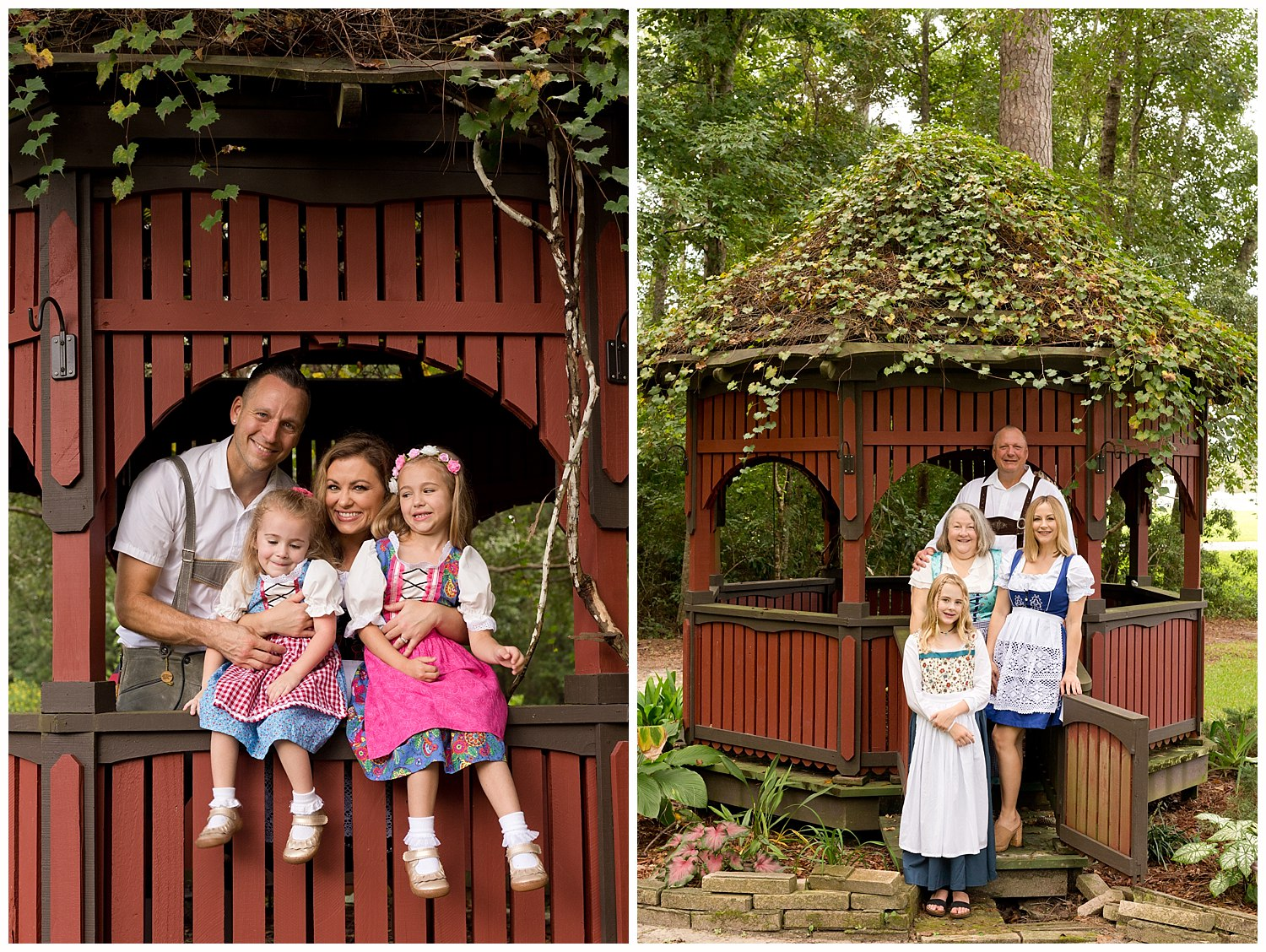 cute family photo with German clothing and gazebo in Ocean Springs, Mississippi