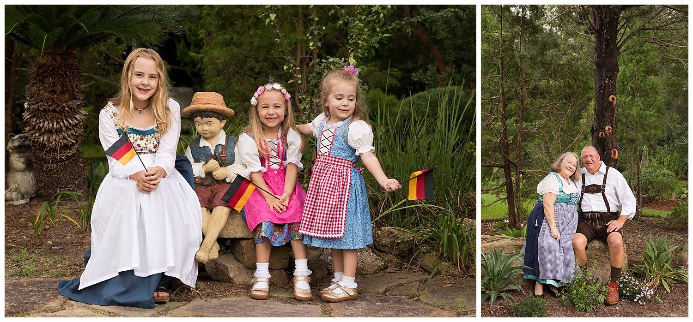 cousins in German dirndl dresses in Ocean Springs, MS