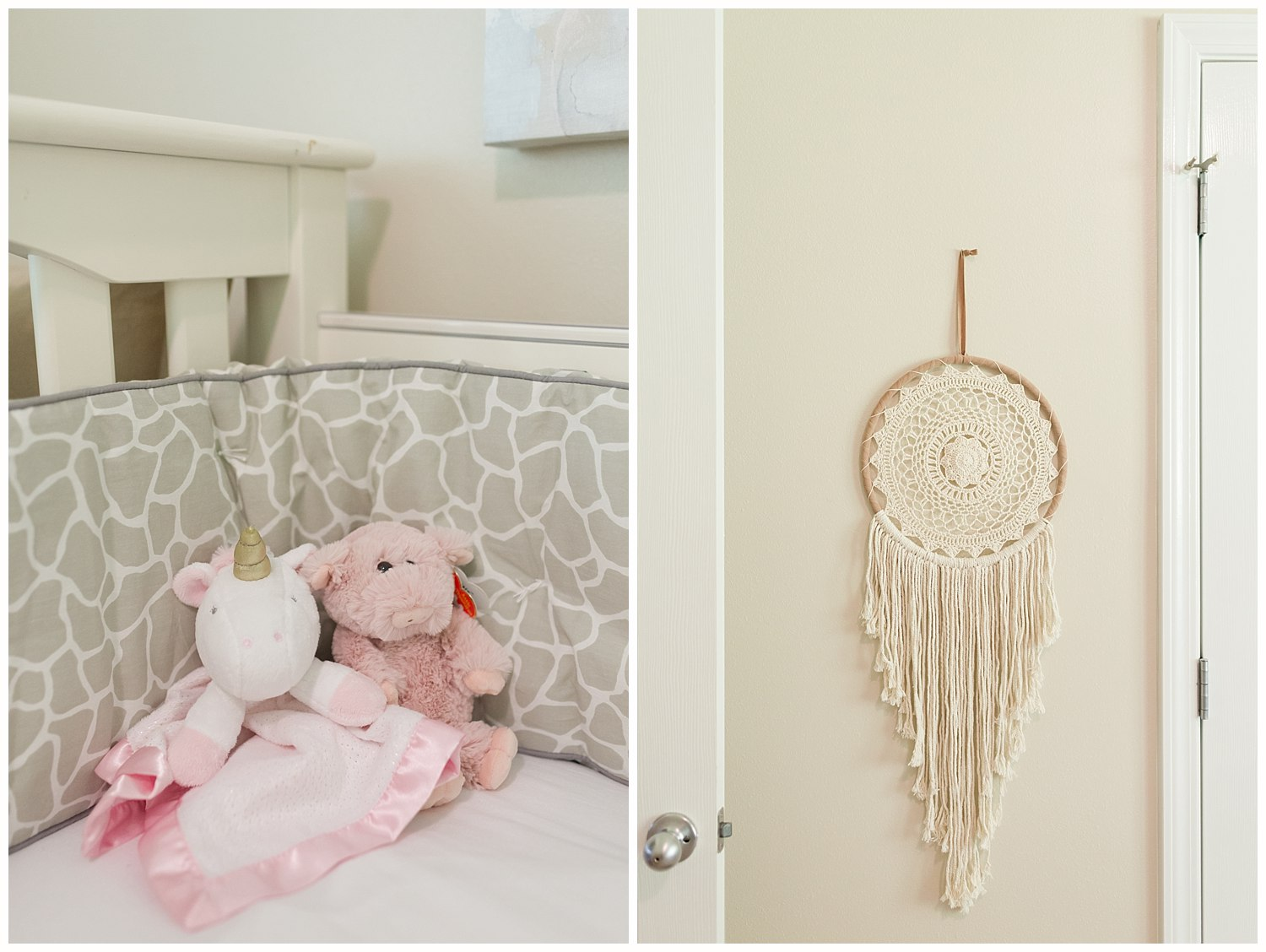 baby girl nursery details - dream catcher and stuffed animals in crib