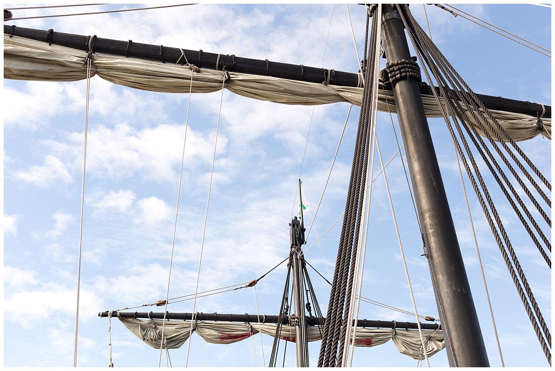 masts and sails on Nina and Pinta in Biloxi