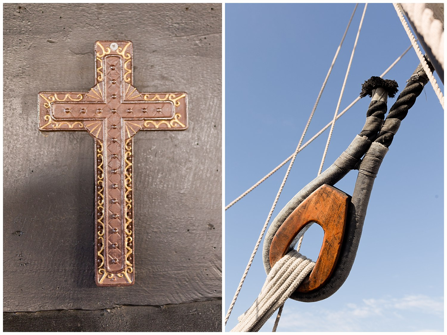 cross and nautical details on ship