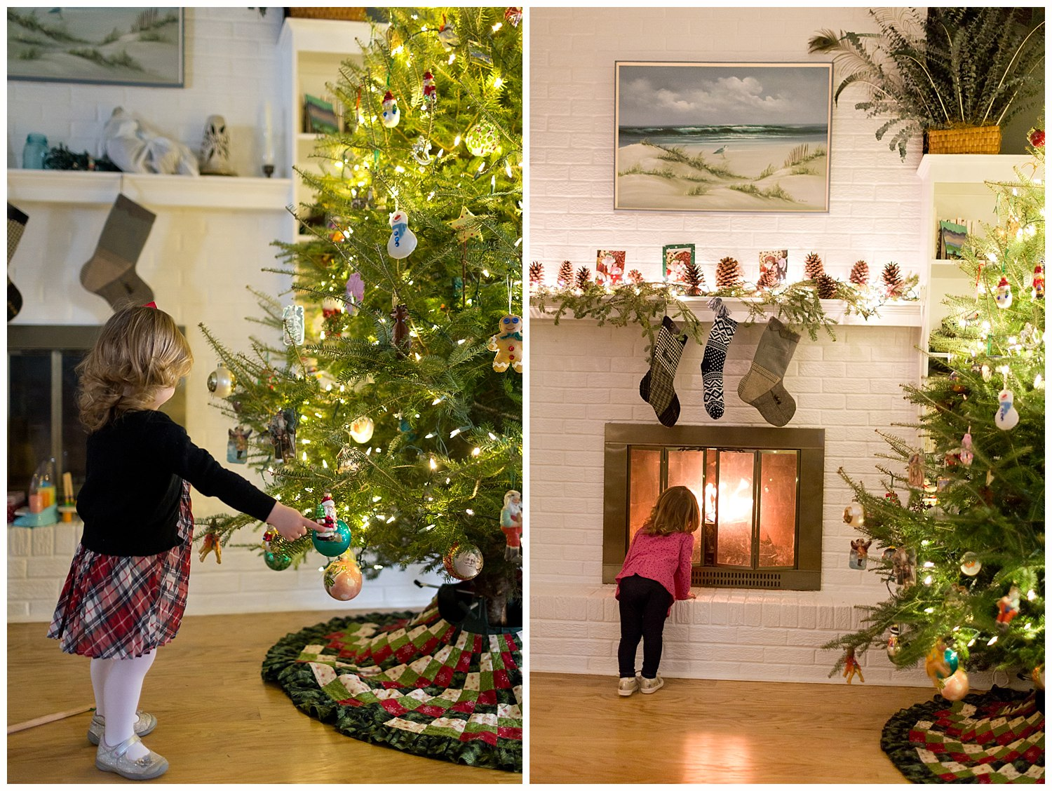 little girl with Christmas tree, fireplace, stockings, holiday decorations