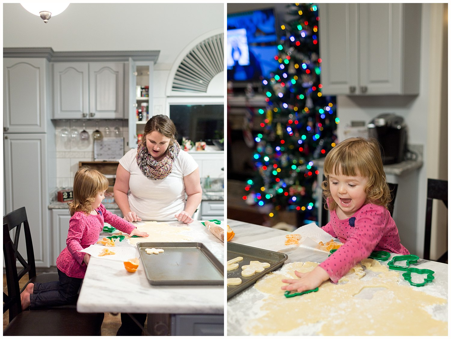 woman and toddler girl making Christmas cookies