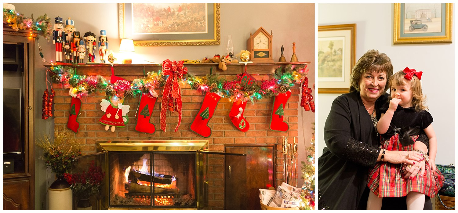 traditional Christmas decorations on mantel, stockings, greenery, nutcrackers