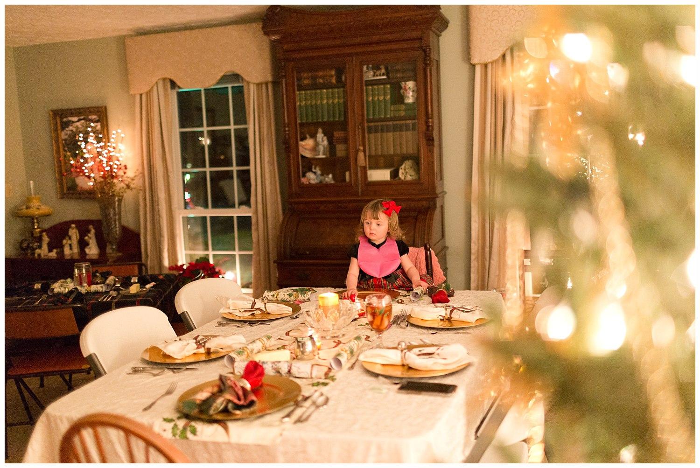 little girl ready to eat Christmas dinner