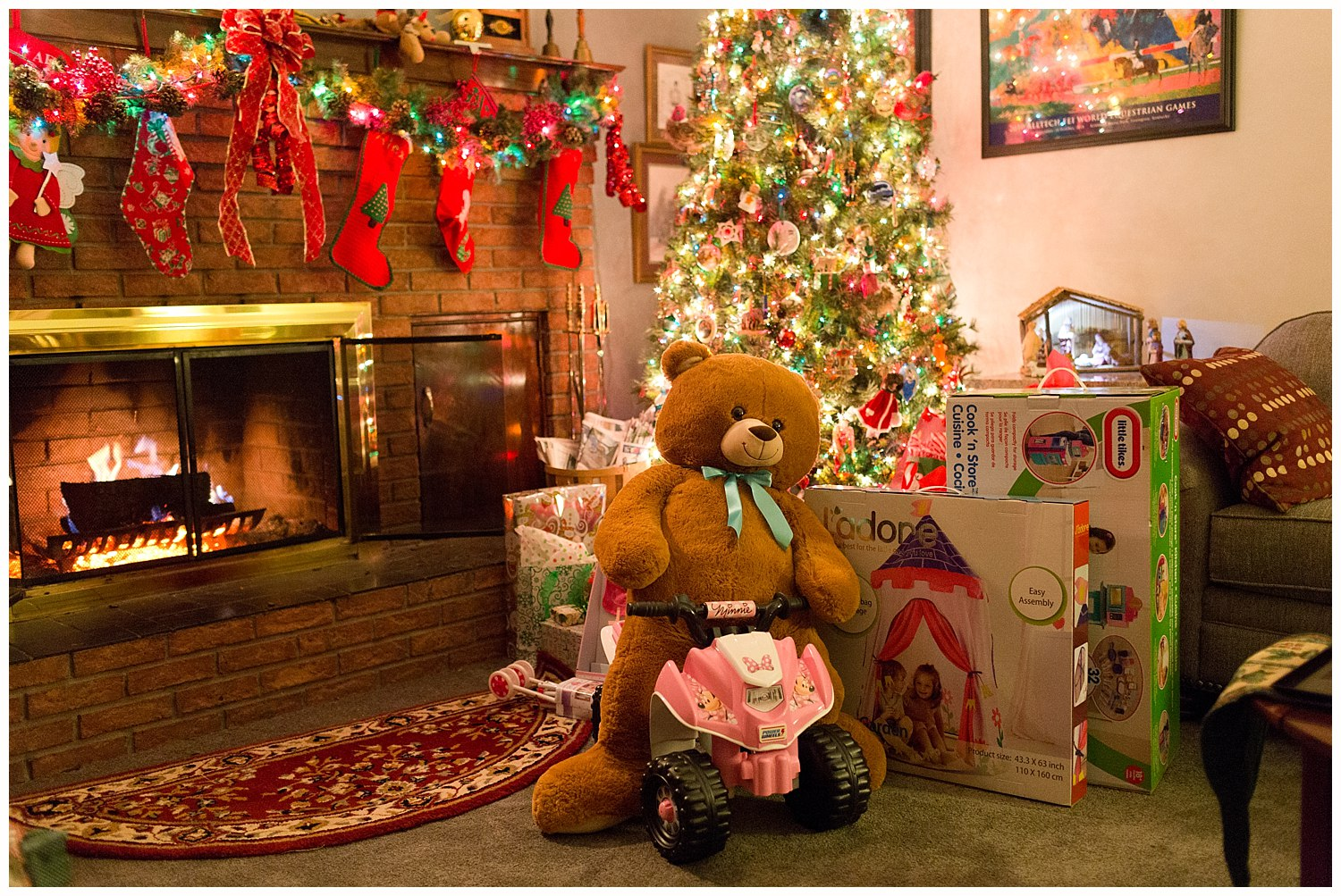 toys placed under tree after Santa Claus comes on Christmas Eve