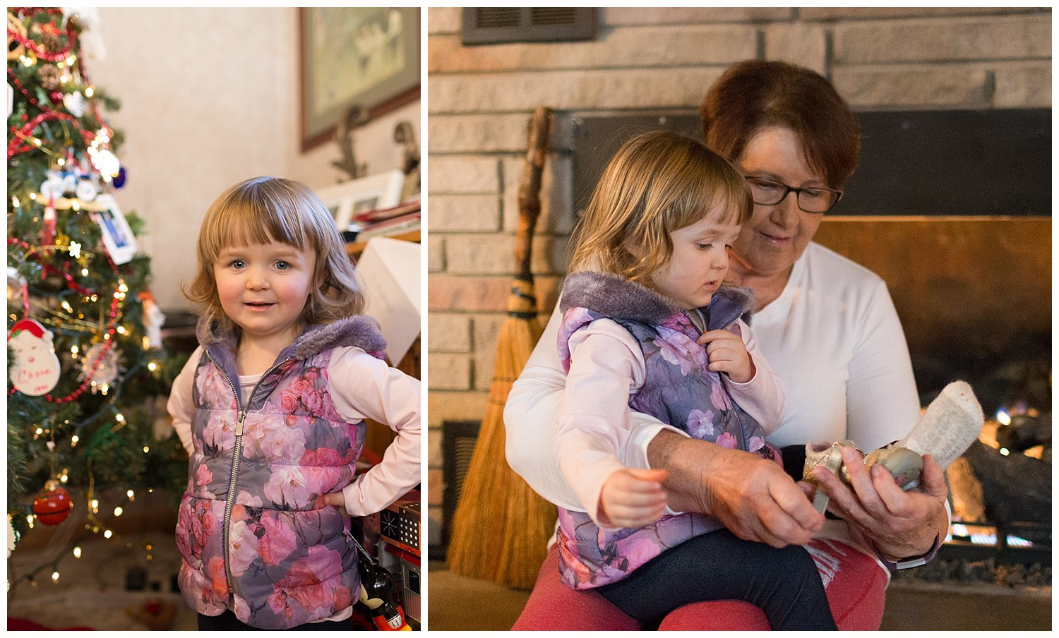 little girl with great aunt at Christmas