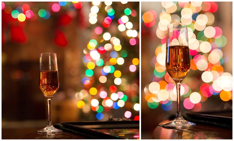 champagne and colorful Christmas light bokeh
