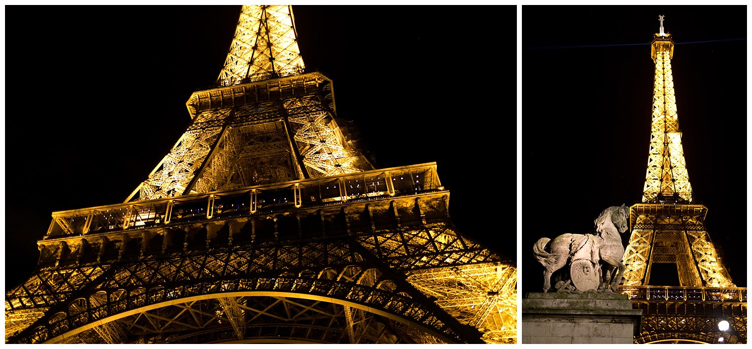 Eiffel Tower at night from different angles