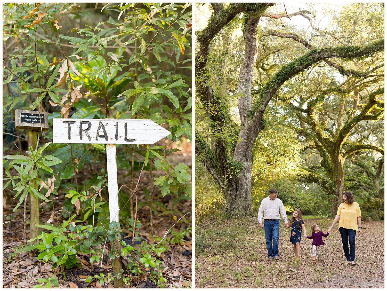 family walking at trail at 12 Oaks, Ocean Springs