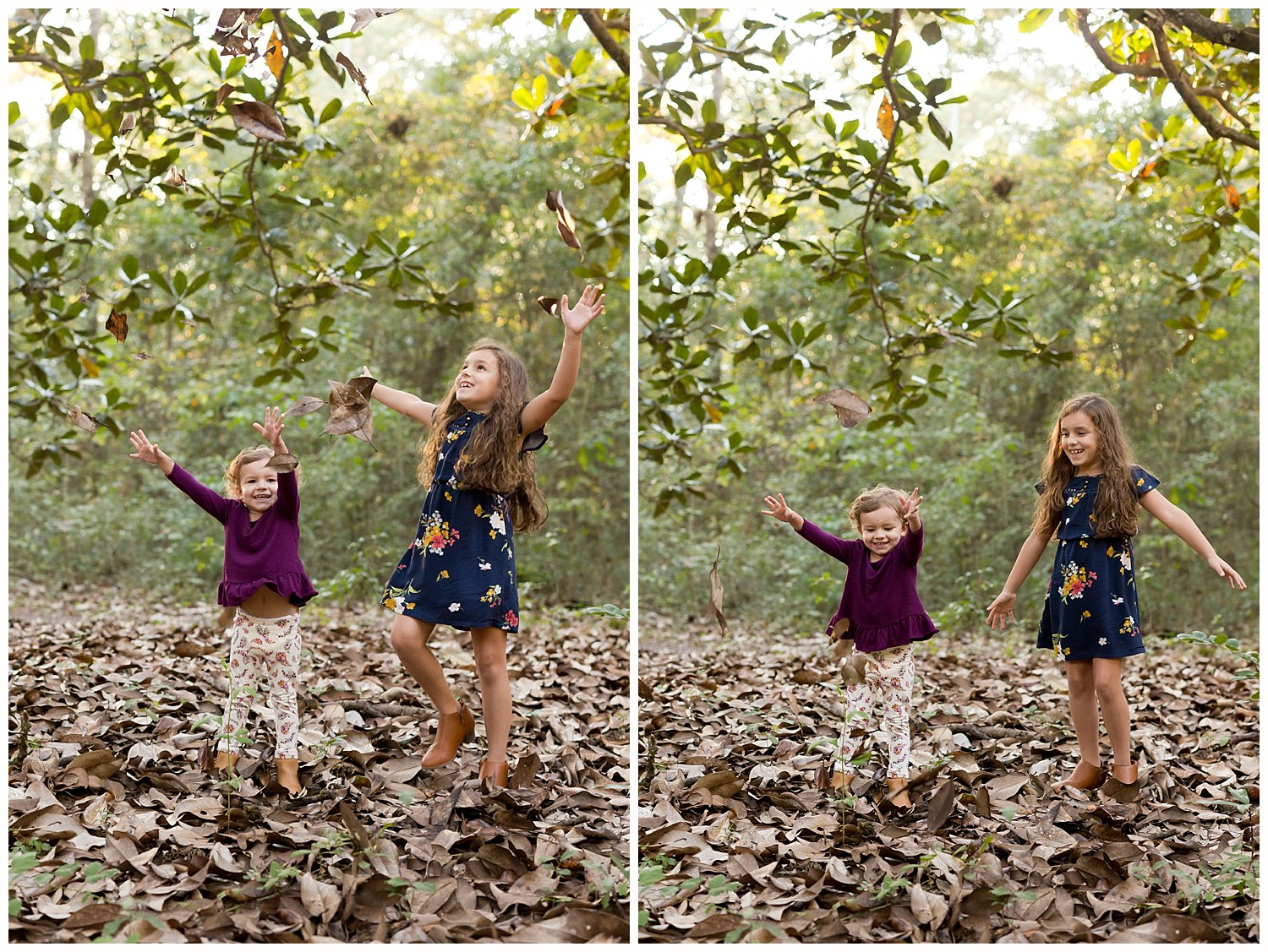 sisters throwing magnolia leaves into the air - fun family photos in Ocean Springs, MS