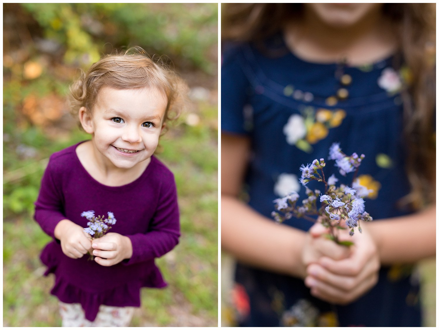 sisters with wildflower bouquets