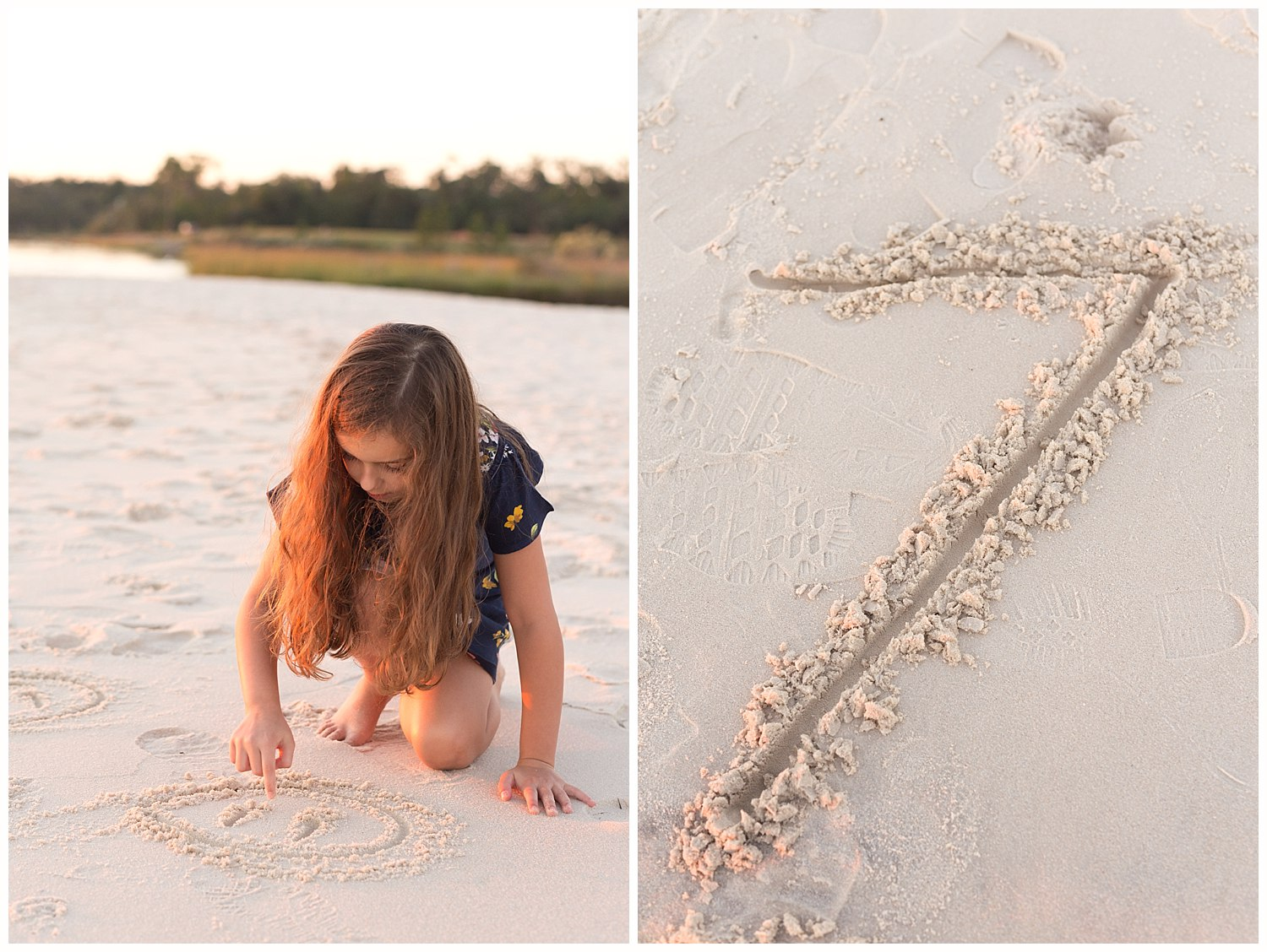 little girl drawing in the sand
