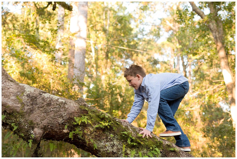 boy climbing live oak tree in Ocean Springs, MS