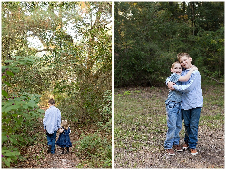 siblings on nature trail at 12 Oaks in Ocean Springs, MS