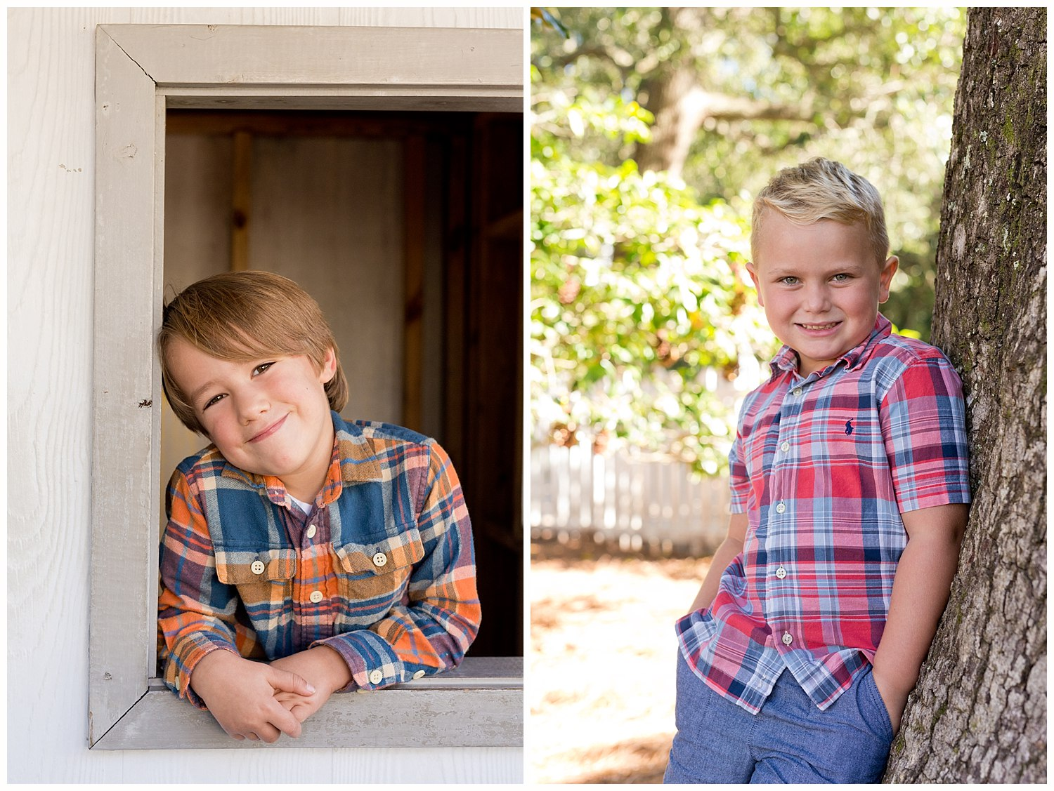 adorable boys' school pictures outdoors in Ocean Springs, Mississippi