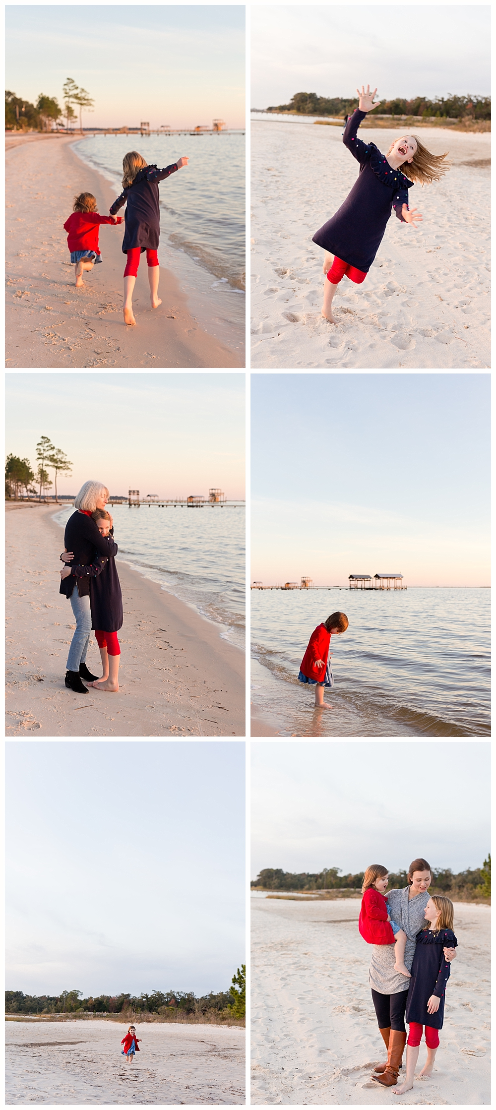 mother and daughter family photos on East Beach in Ocean Springs, Mississippi