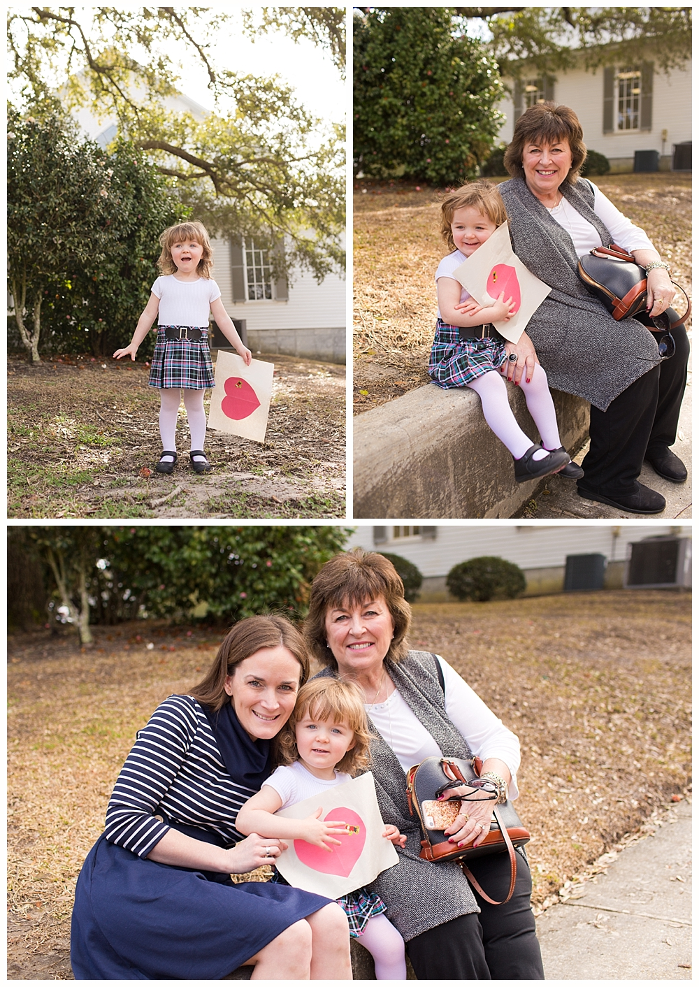 little girl, mom, and grandmother after church at First Presbyterian in Ocean Springs