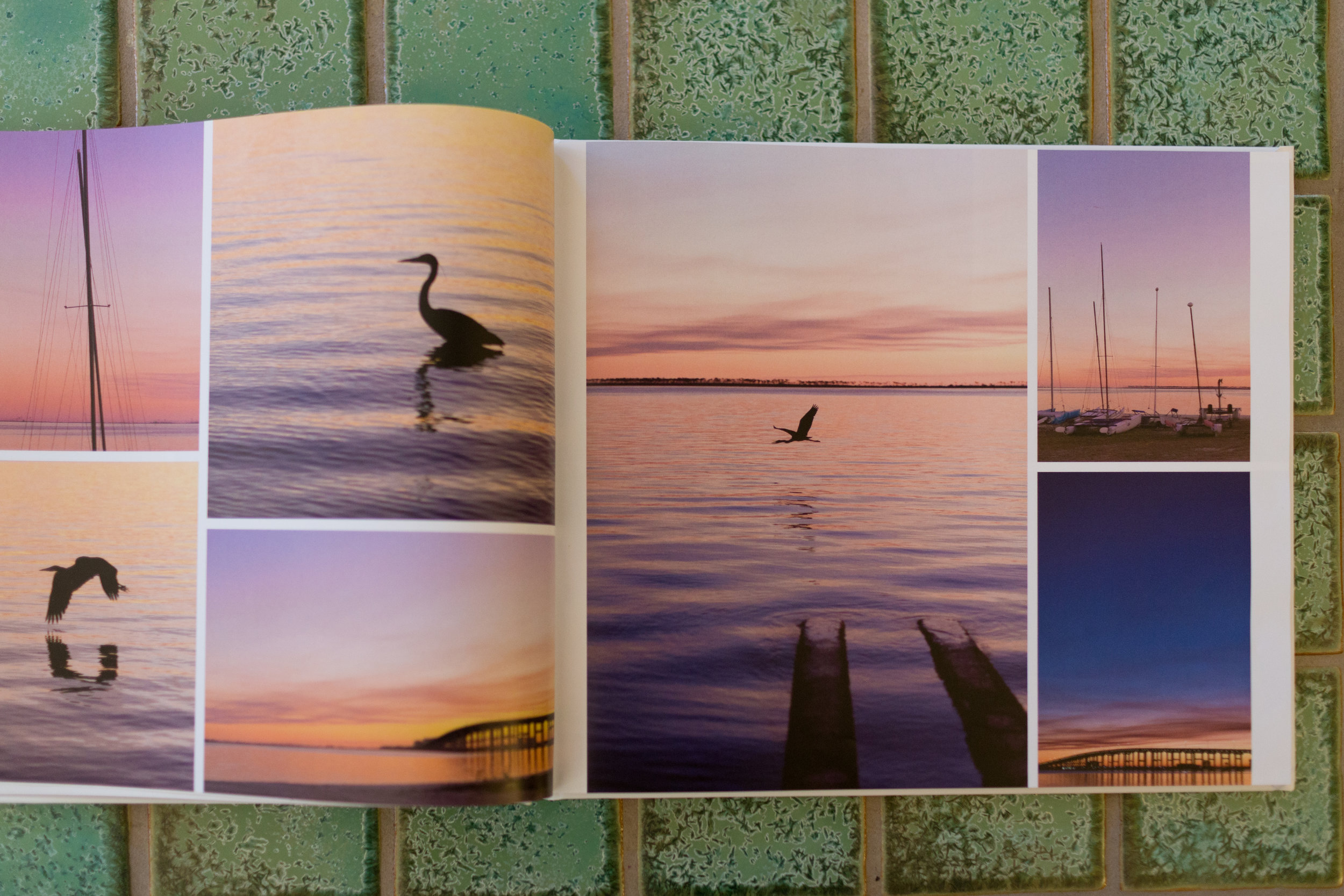 photo book with pictures of sunset at Front Beach - Ocean Springs nature photographer