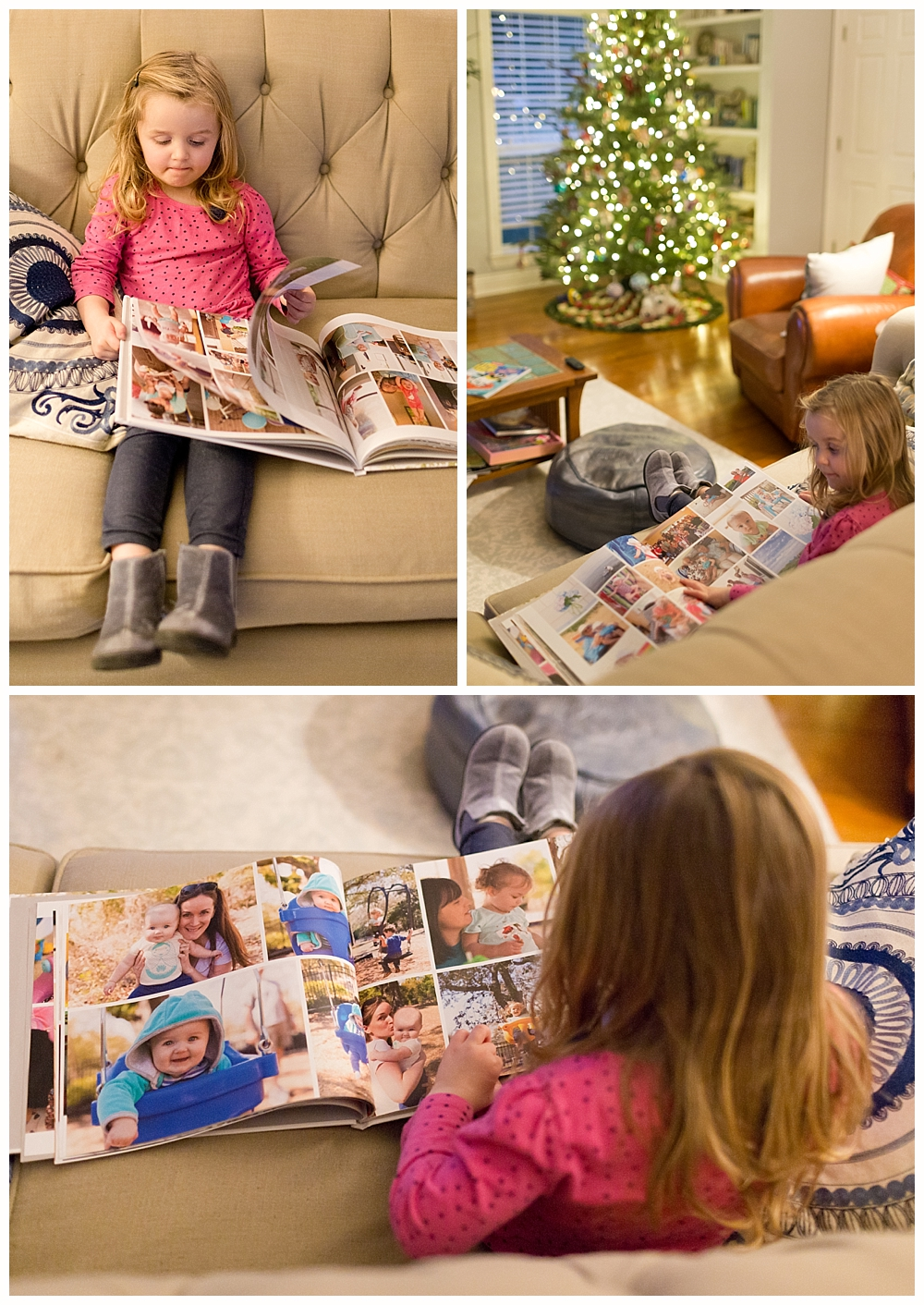 three-year-old girl looking at book of family photos - Ocean Springs lifestyle photographer